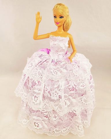 Layered Lace White and Violet Barbie Dress