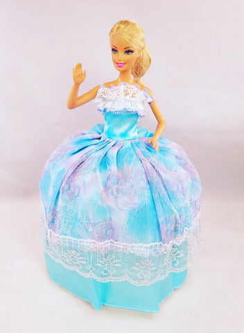 Blue Barbie Dress with Silver Lace