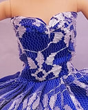 Indigo Blue Barbie Dress with White Lace