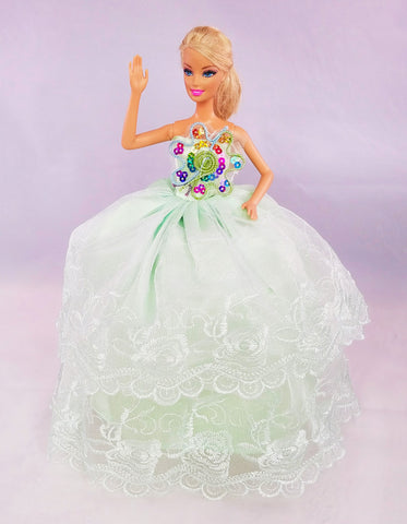 Flower Embroidered Tulle Green Barbie Dress with Rainbow Sequin Flower