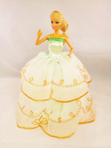 Green Barbie Dress with Golden Embroidery