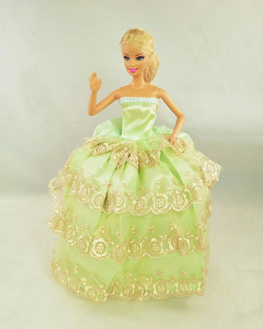 Flower Embroidered Green and Gold Barbie Dress