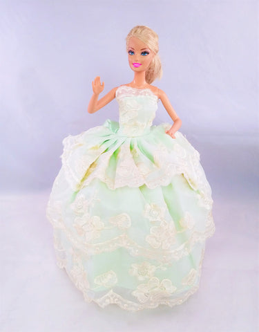 Flower Embroidered Green and Ivory Barbie Dress