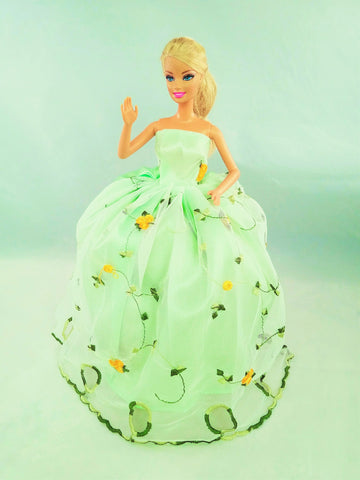 Light Green Flower Embroidered Tulle Barbie Dress