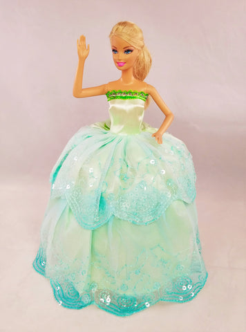 Sequined Blue and Green Barbie Dress with Silver Trim