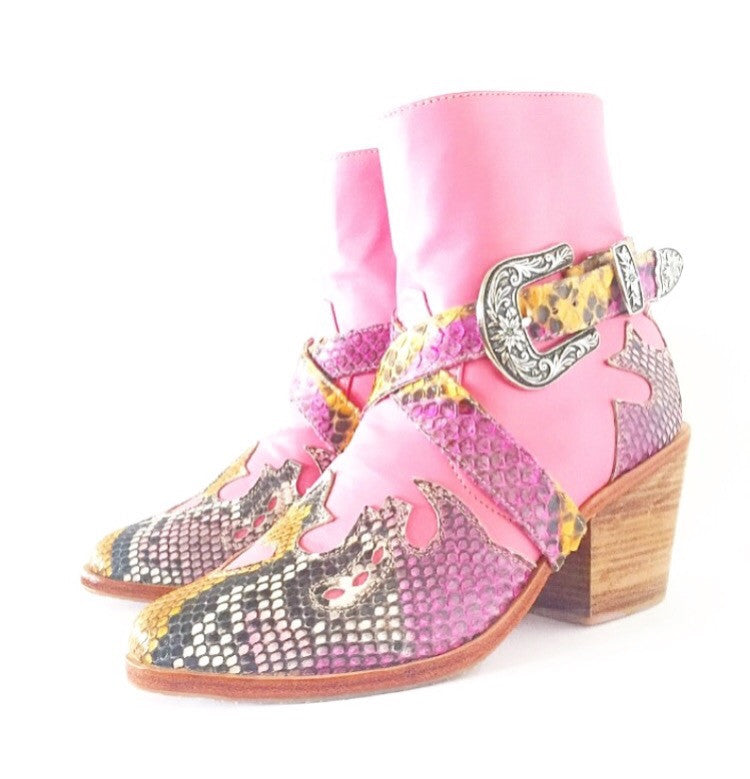 Wandering Lover Boot: Pink Python (PRE-ORDER)