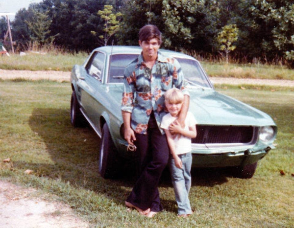 Me, my dad, his '67 (I think) Mustang and his smooth polyester shirt in 1978 - Darkie_McFly