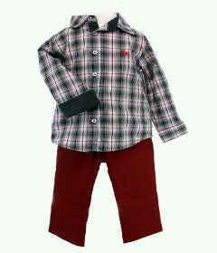 Frenchie Mini Couture Grey and Maroon Plaid Shirt