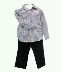 Frenchie Mini Couture Grey Gingham Check Shirt