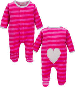 Magnificent Baby Hot Pink/Berry Velour Footie