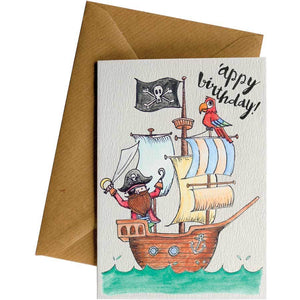 Friendsheep Sustainable Goods greeting_card 'appy birthday! (Pirate ship) - Greeting Card