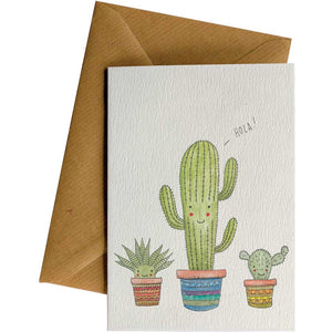Friendsheep Sustainable Goods greeting_card Cacti Hola - Greeting Card