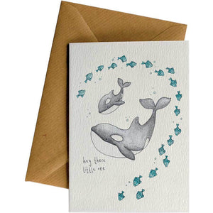 Friendsheep Sustainable Goods greeting_card Hey there (Baby Orca) - Greeting Card