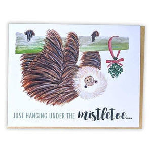 Friendsheep Sustainable Goods greeting_card Just hanging under the mistletoe... - Greeting Card