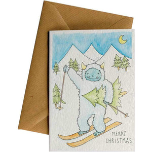 Friendsheep Sustainable Goods greeting_card Merry Christmas (Skiing Yeti) - Greeting Card