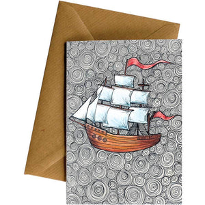 Friendsheep Sustainable Goods greeting_card Ship - Greeting Card