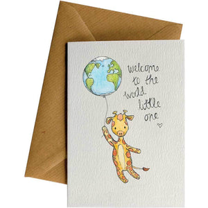 Friendsheep Sustainable Goods greeting_card Welcome to the World (Giraffe) - Greeting Card