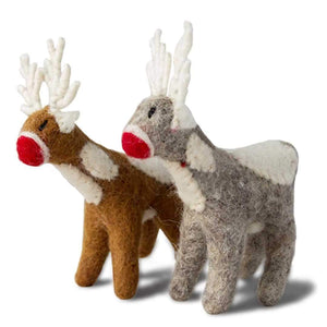 Friendsheep Sustainable Wool Goods Hanging Animals 1 Santa's Reindeer - Set of 2