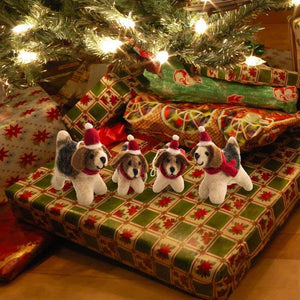 Friendsheep Sustainable Wool Goods Hanging Animals 2 Santa's Helpers - Set of 2