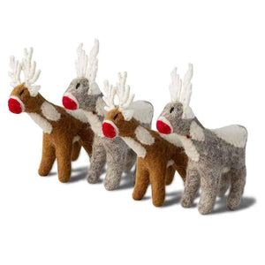 Friendsheep Sustainable Wool Goods Hanging Animals Santa's Reindeer - Set of 4