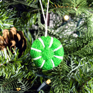 Friendsheep Sustainable Wool Goods set of 6 Peppermint Eco Freshener Ornaments - Greens