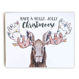 Red+Wolf greeting_card Have a holly jolly Christmoose - Greeting Card