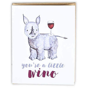 Red+Wolf greeting_card You're a little wino