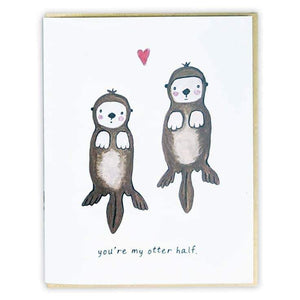 Red+Wolf greeting_card You're my otter half