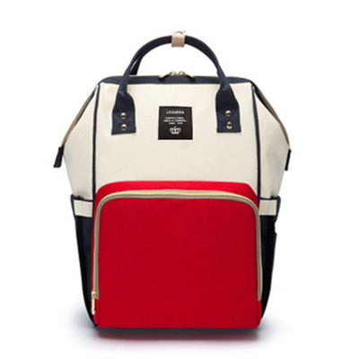 LeQueen Diaper Bag - Red, Cream, & Navy
