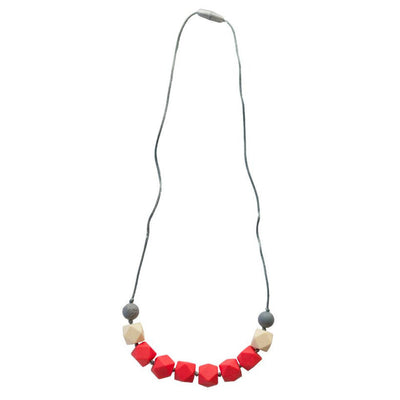 Itzy Ritzy Teething Happens Cube Necklace - Coral