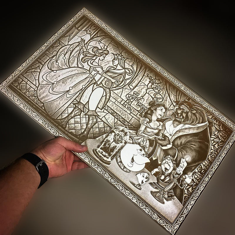 Beauty & The Beast Wood Engraving