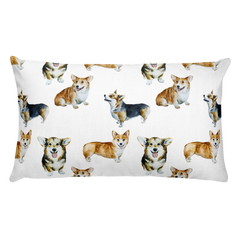 Corgi Print Rectangular Pillow
