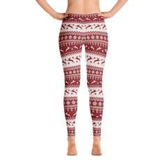 Hoppy Christmas Bunny Leggings (red & white)