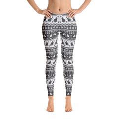 Rabbit Christmas Leggings (black & white)