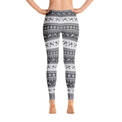 Hoppy Christmas Bunny Leggings (black & white)