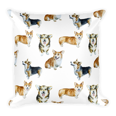 Corgi Print Square Pillow