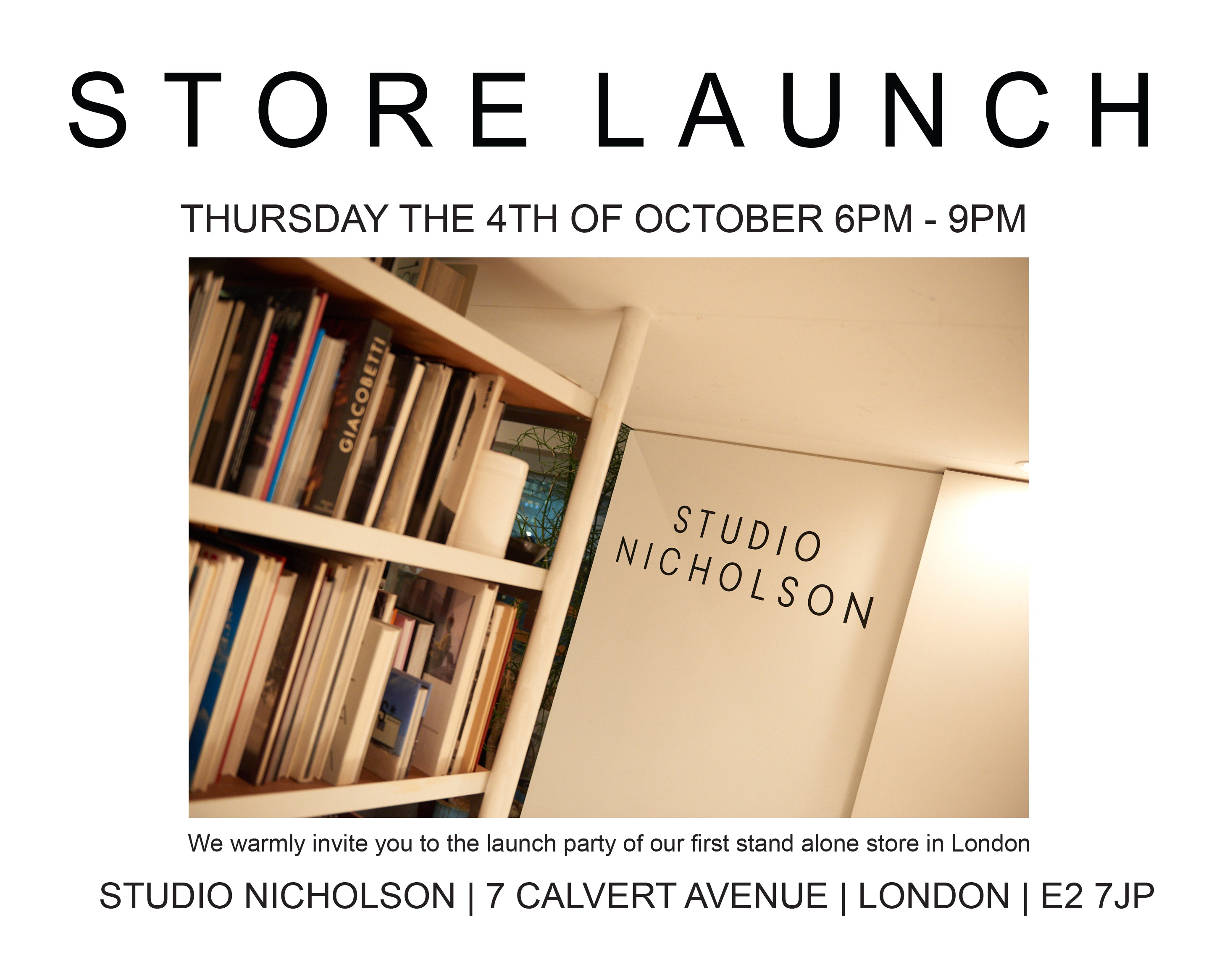 Store Launch - Thursday 4th October 6-9pm