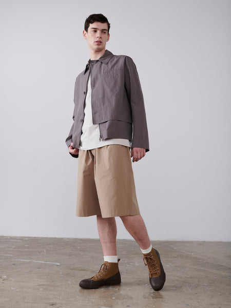 Meno Overlap Shirt In Lead - Studio Nicholson