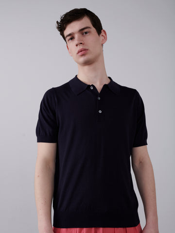Arieta Knitted Polo In Dark Navy