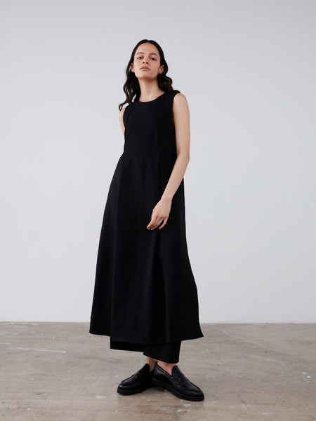 Zahara Dress in Black Suiting - Studio Nicholson