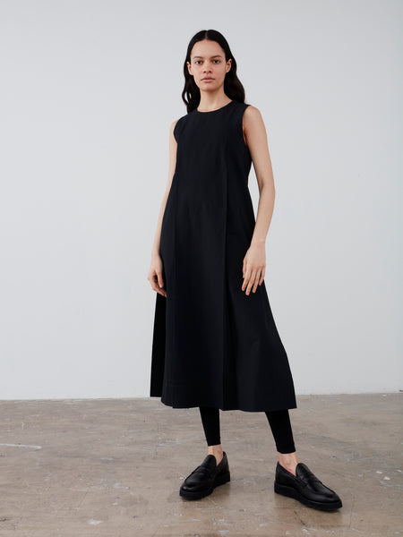 Zahara Dress in Black Seersucker - Studio Nicholson