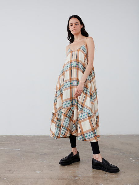 Oahu Dress in Check Multi Tan - Studio Nicholson