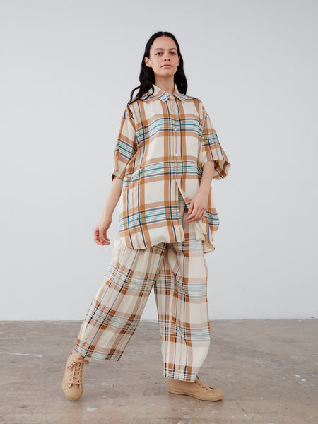 Dordoni Volume Pant in Check Multi Tan - Studio Nicholson