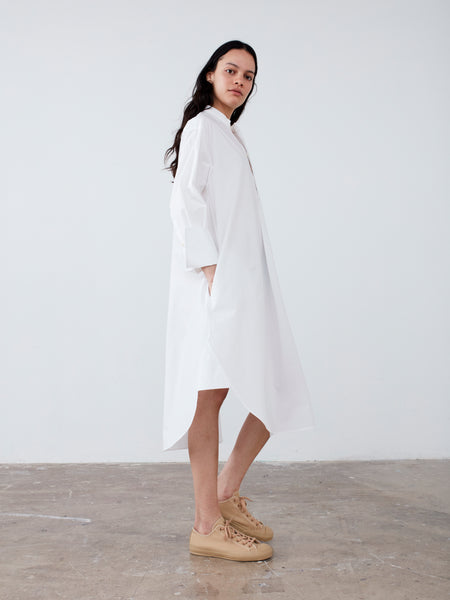 Galvan Shirt Dress In Optic White - Studio Nicholson