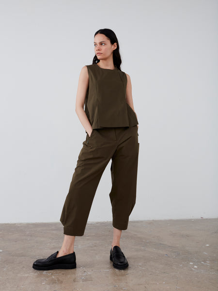 Romero Pant in Olive Powder Cotton - Studio Nicholson