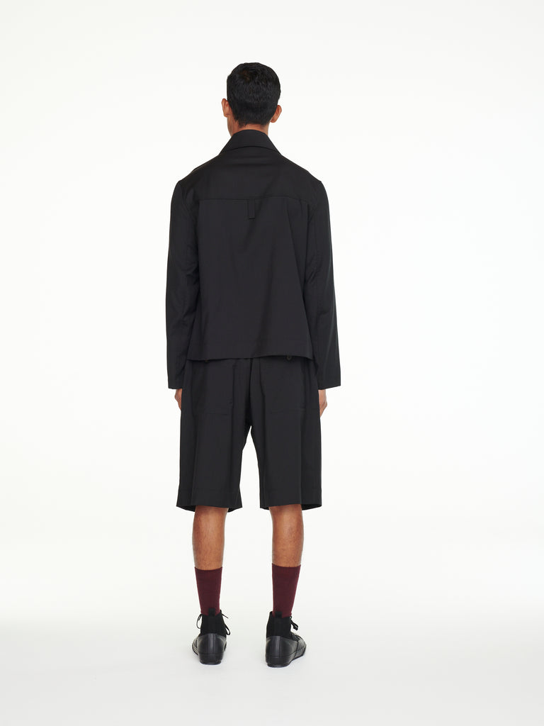 Miko Shirt Jacket In Black Tropical Wool
