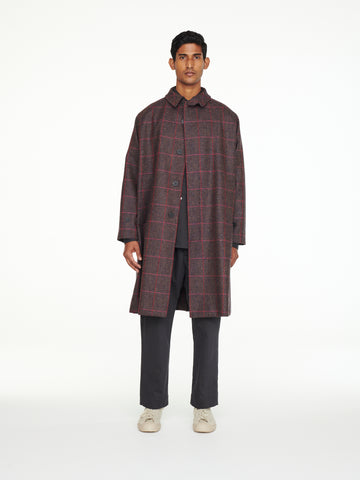 Romer Coat In Grey Pink Check