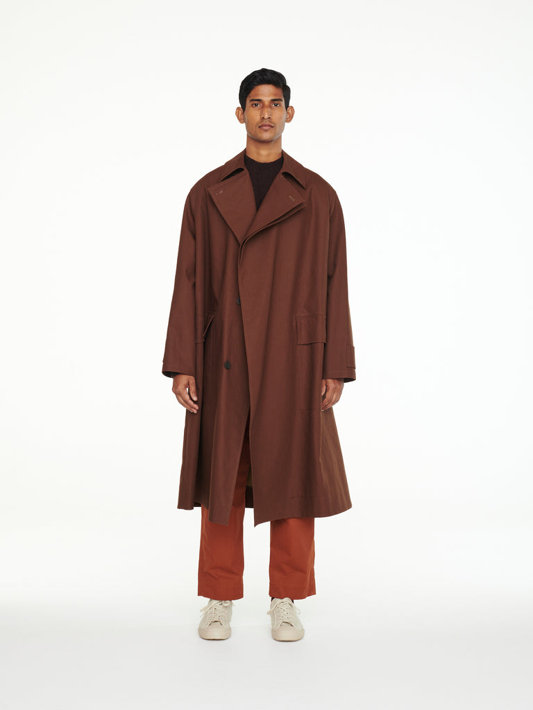 Delum Mac Coat In Chocolate/Almond