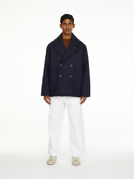 Kenton Pea Coat In Dark Navy