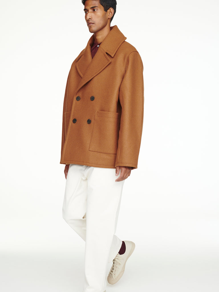 Kenton Pea Coat In Truffle